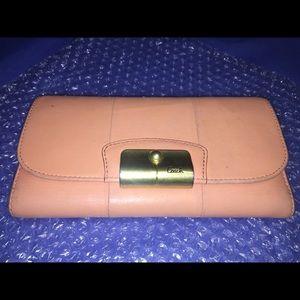 Coach Leather Wallet; Peach /Blush Pink Interior